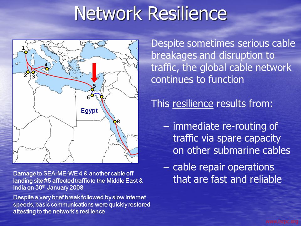 Network Resilience Despite sometimes serious cable breakages and disruption to traffic, the global cable network continues to function.