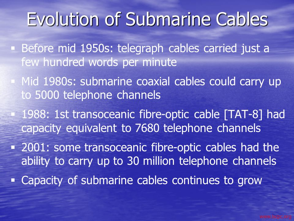 Evolution of Submarine Cables