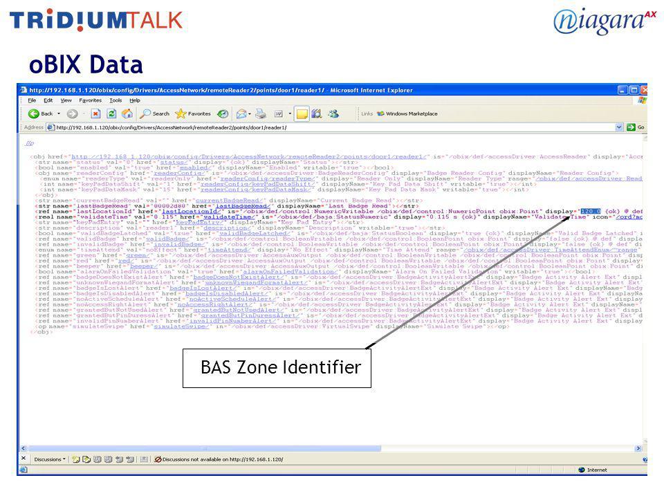 oBIX Data BAS Zone Identifier