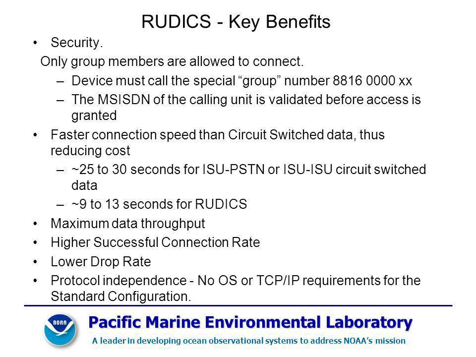 RUDICS - Key Benefits Pacific Marine Environmental Laboratory