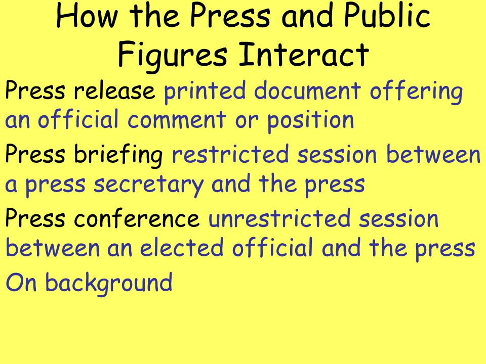 How the Press and Public Figures Interact