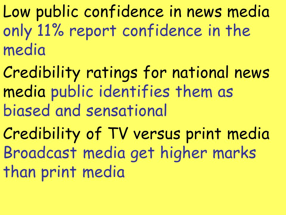 Low public confidence in news media only 11% report confidence in the media