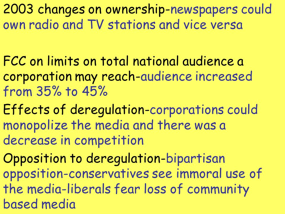 2003 changes on ownership-newspapers could own radio and TV stations and vice versa