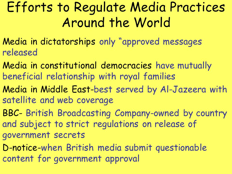 Efforts to Regulate Media Practices Around the World