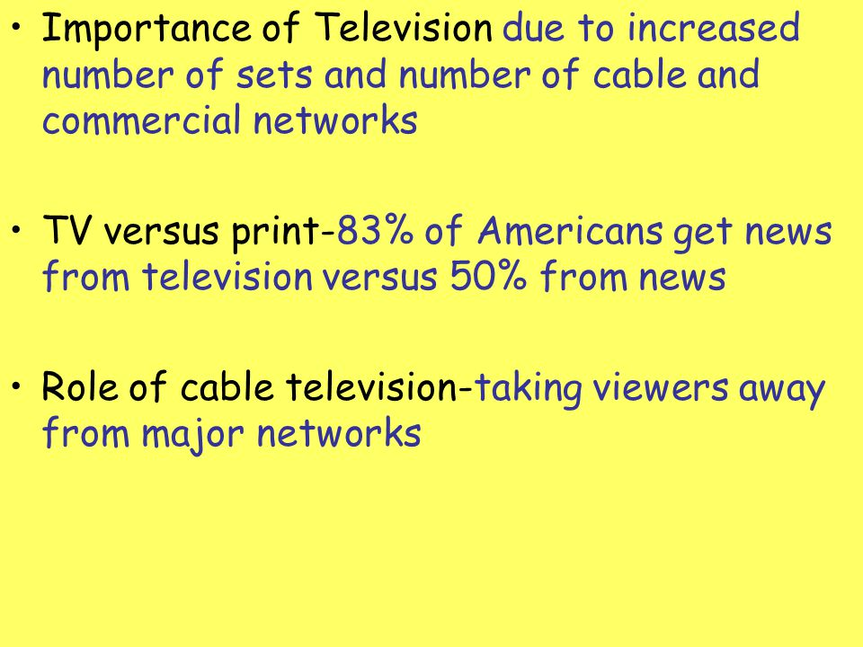 Importance of Television due to increased number of sets and number of cable and commercial networks