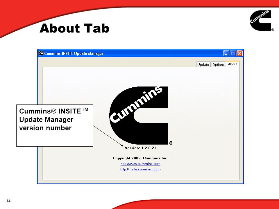 About Tab Cummins® INSITE™ Update Manager version number