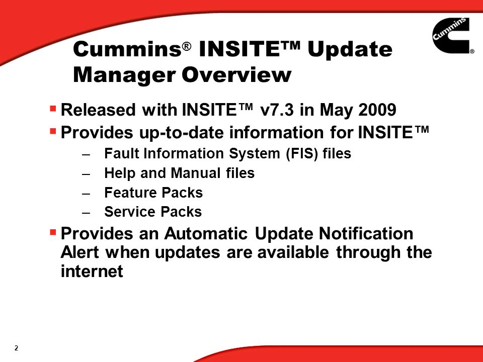 Cummins® INSITE™ Update Manager Overview