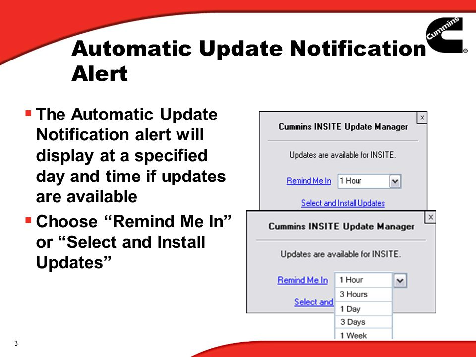 Automatic Update Notification Alert