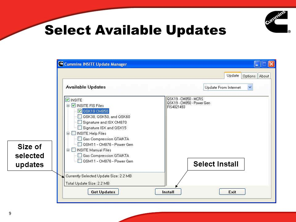 Select Available Updates