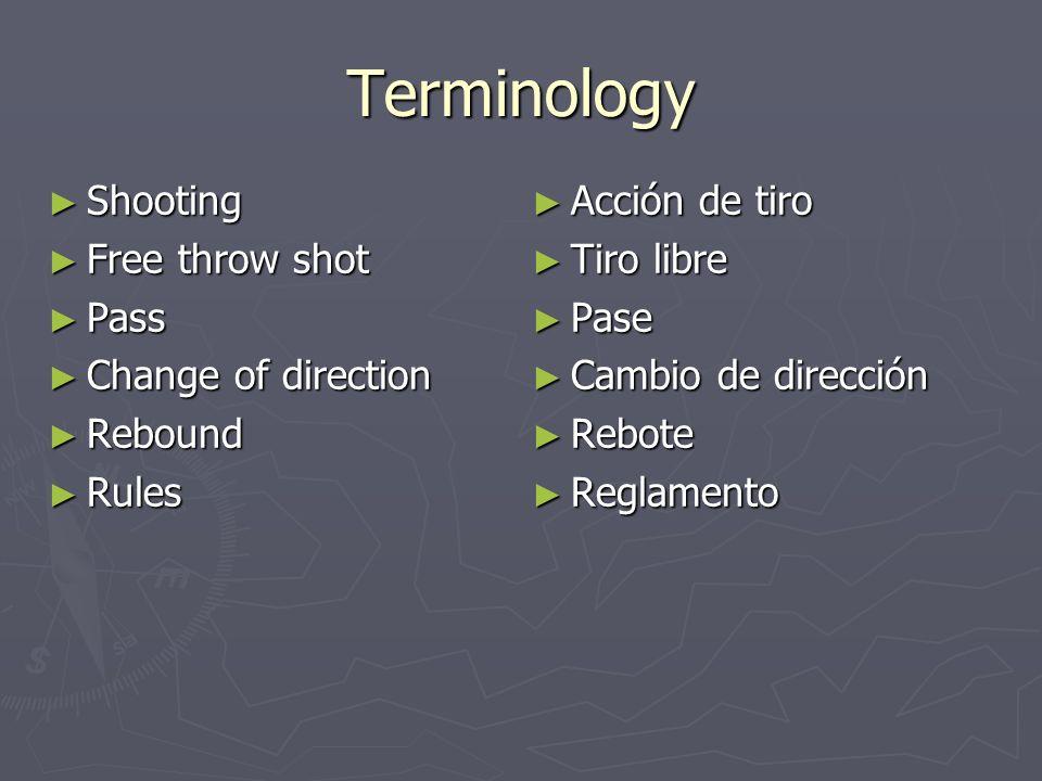 Terminology Shooting Free throw shot Pass Change of direction Rebound