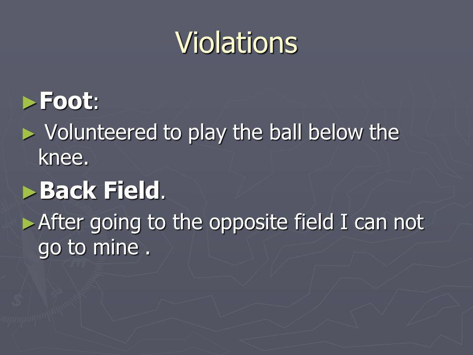 Violations Foot: Back Field.