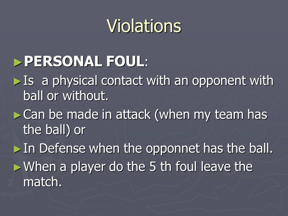 Violations PERSONAL FOUL: