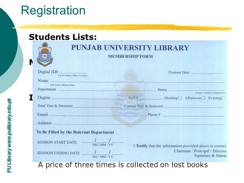Registration Students Lists: Membership Form: Issuance Rules: