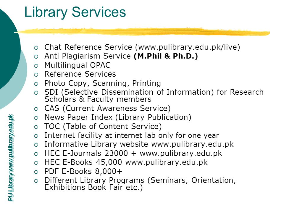 Library Services Chat Reference Service (www.pulibrary.edu.pk/live)