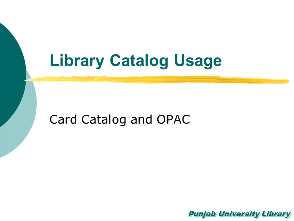 Library Catalog Usage Card Catalog and OPAC