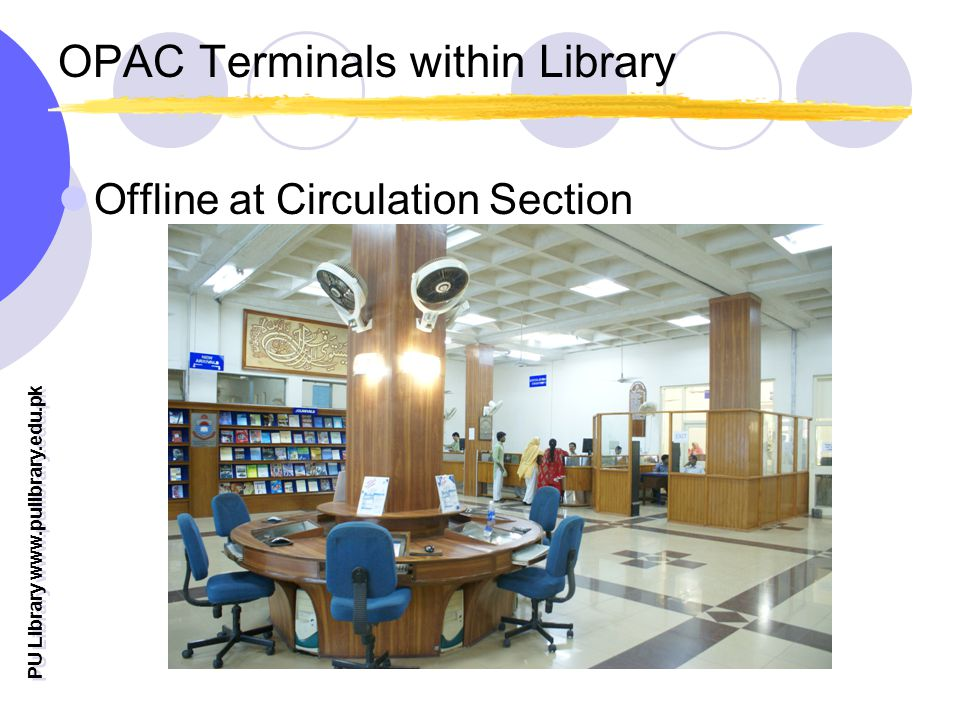 OPAC Terminals within Library