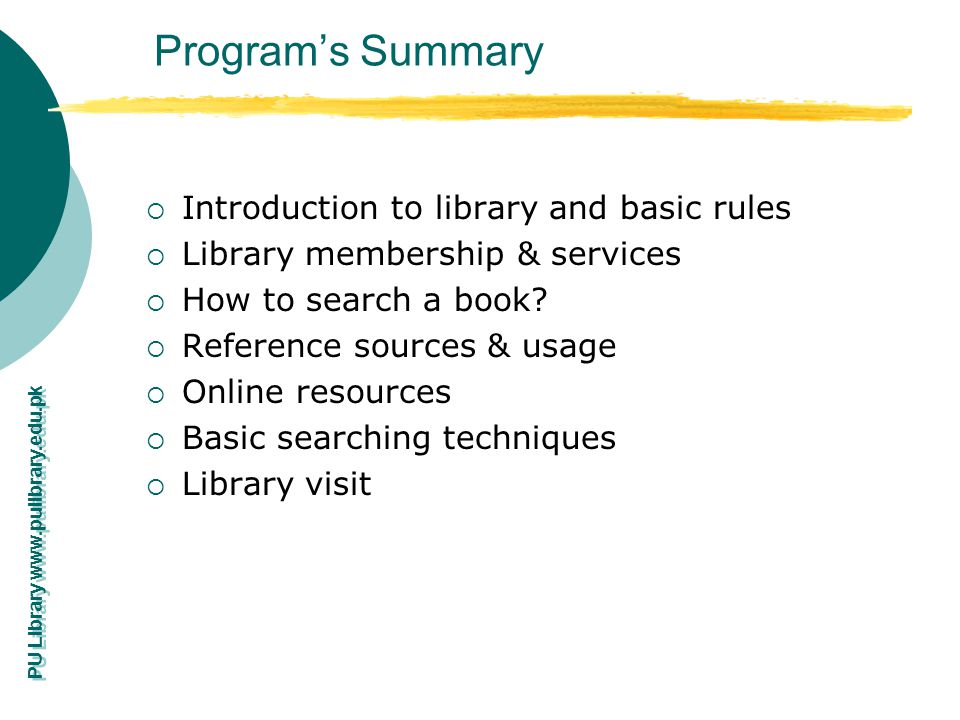 Program's Summary Introduction to library and basic rules