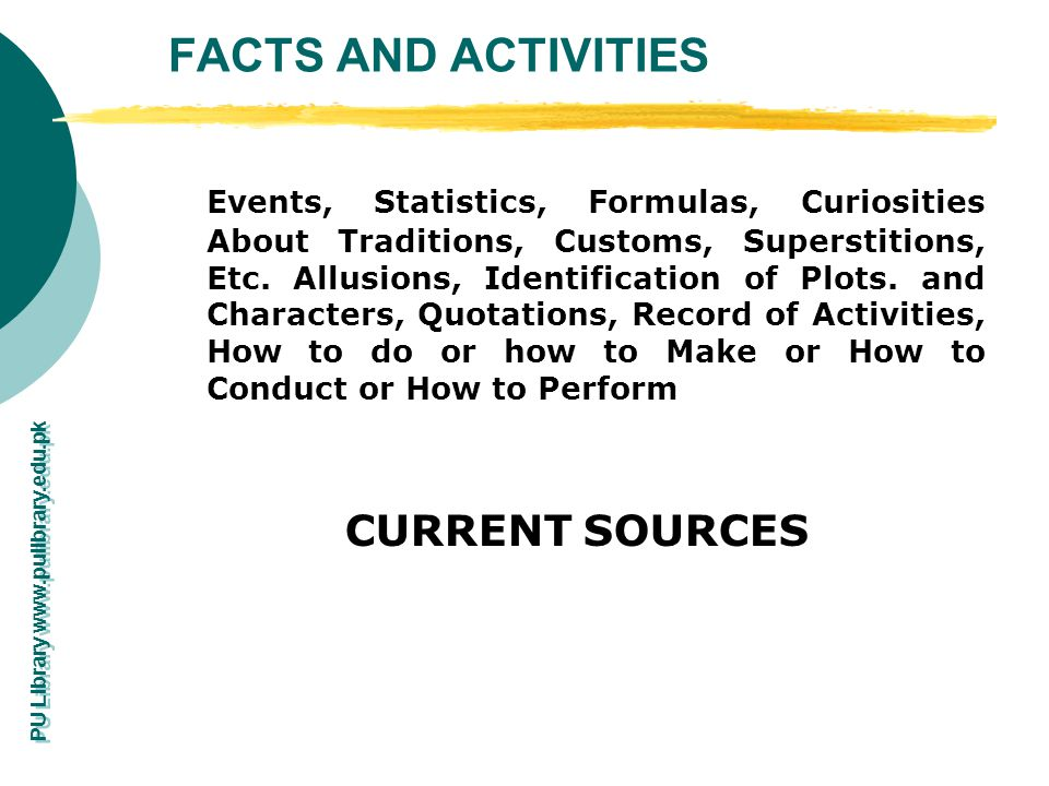 FACTS AND ACTIVITIES