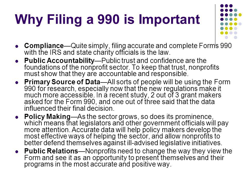 Why Filing a 990 is Important