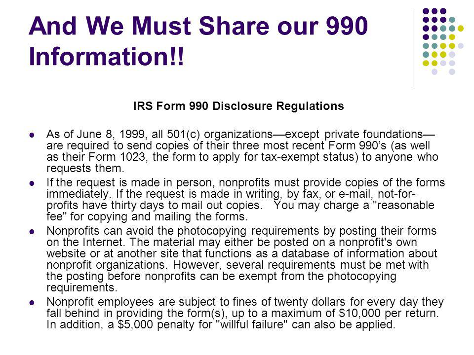 And We Must Share our 990 Information!!