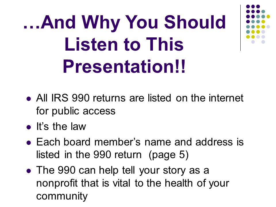 …And Why You Should Listen to This Presentation!!