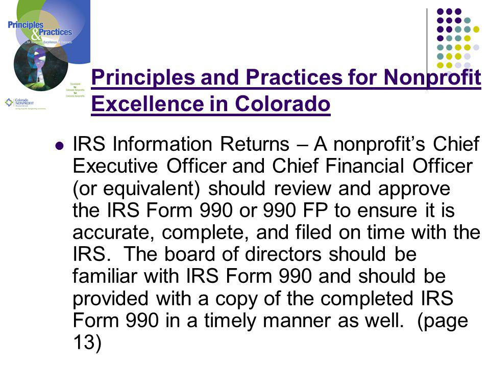 Principles and Practices for Nonprofit Excellence in Colorado