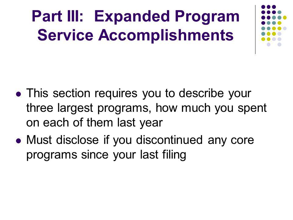 Part III: Expanded Program Service Accomplishments