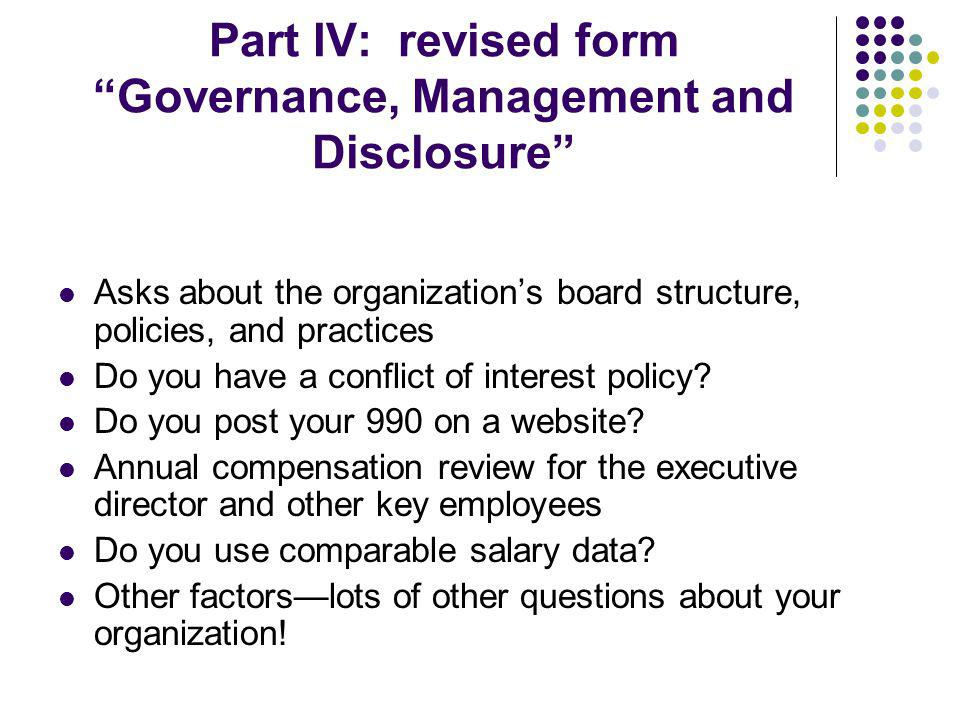 Part IV: revised form Governance, Management and Disclosure