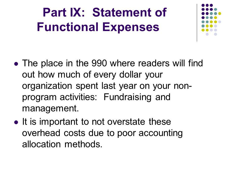 Part IX: Statement of Functional Expenses