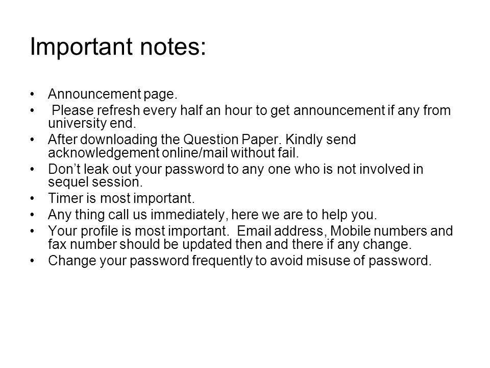 Important notes: Announcement page.