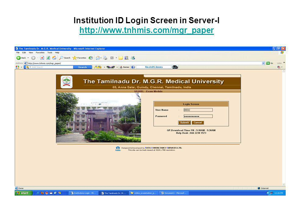 Institution ID Login Screen in Server-I http://www. tnhmis