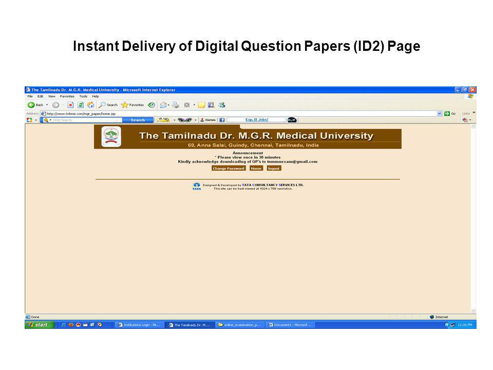 Instant Delivery of Digital Question Papers (ID2) Page