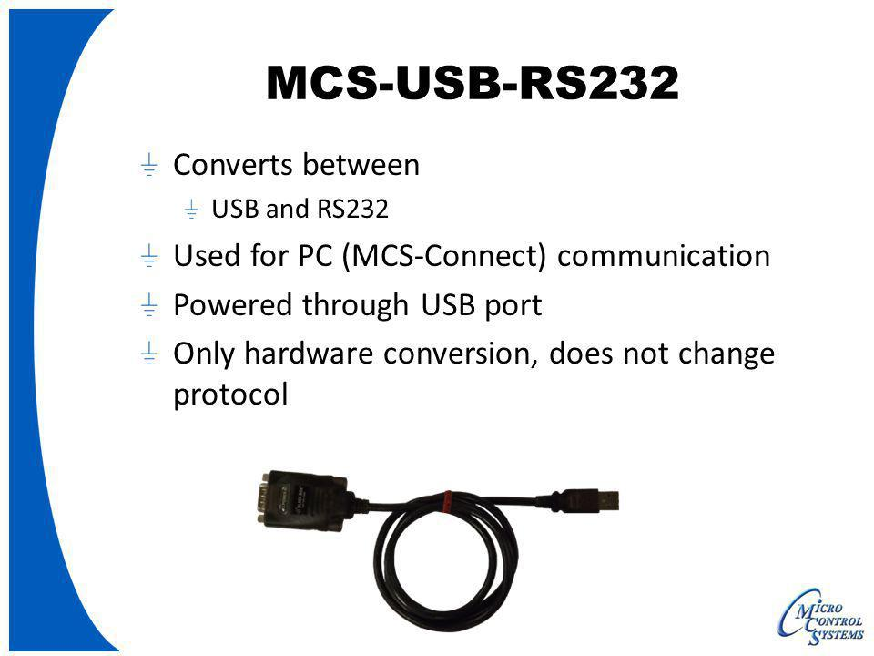 MCS-USB-RS232 Converts between Used for PC (MCS-Connect) communication