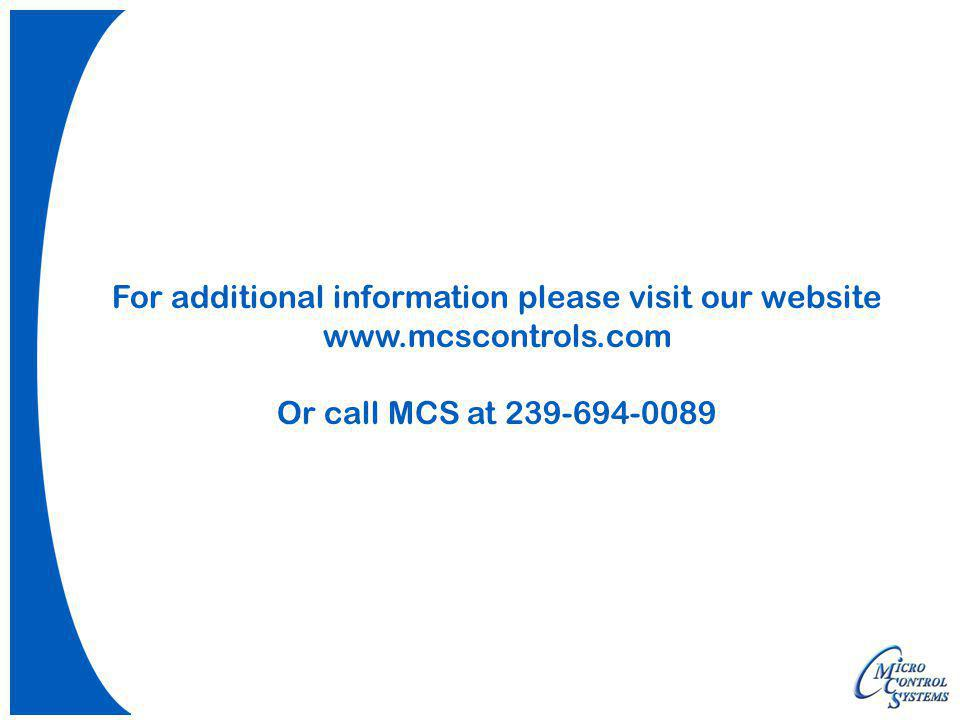 For additional information please visit our website www. mcscontrols