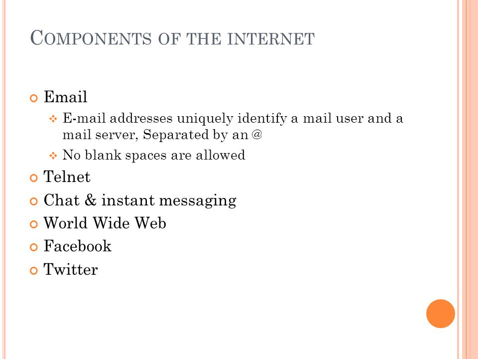 Components of the internet