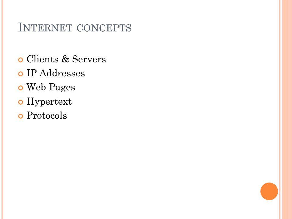 Internet concepts Clients & Servers IP Addresses Web Pages Hypertext