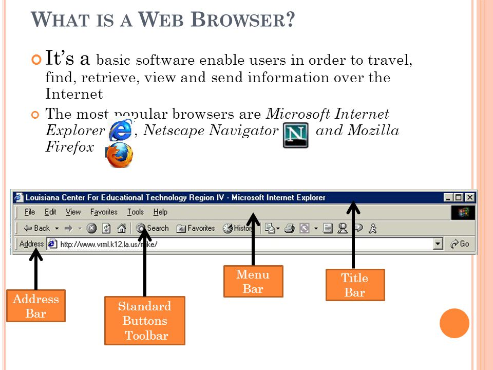 What is a Web Browser It's a basic software enable users in order to travel, find, retrieve, view and send information over the Internet.