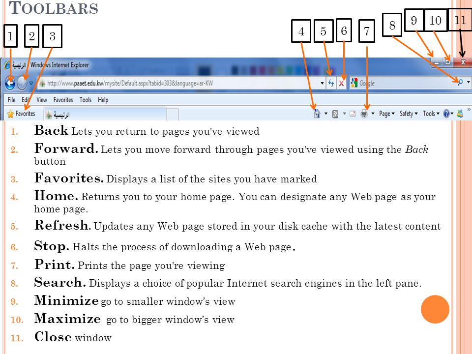 Toolbars Back Lets you return to pages you ve viewed