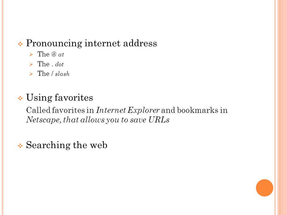 Pronouncing internet address