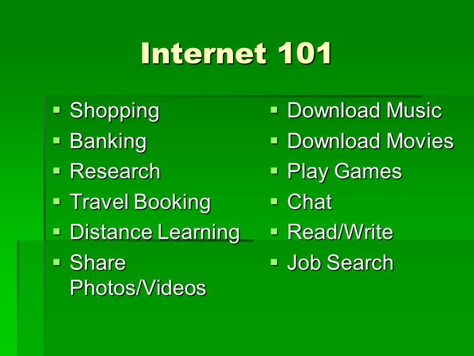 Internet 101 Shopping Banking Research Travel Booking