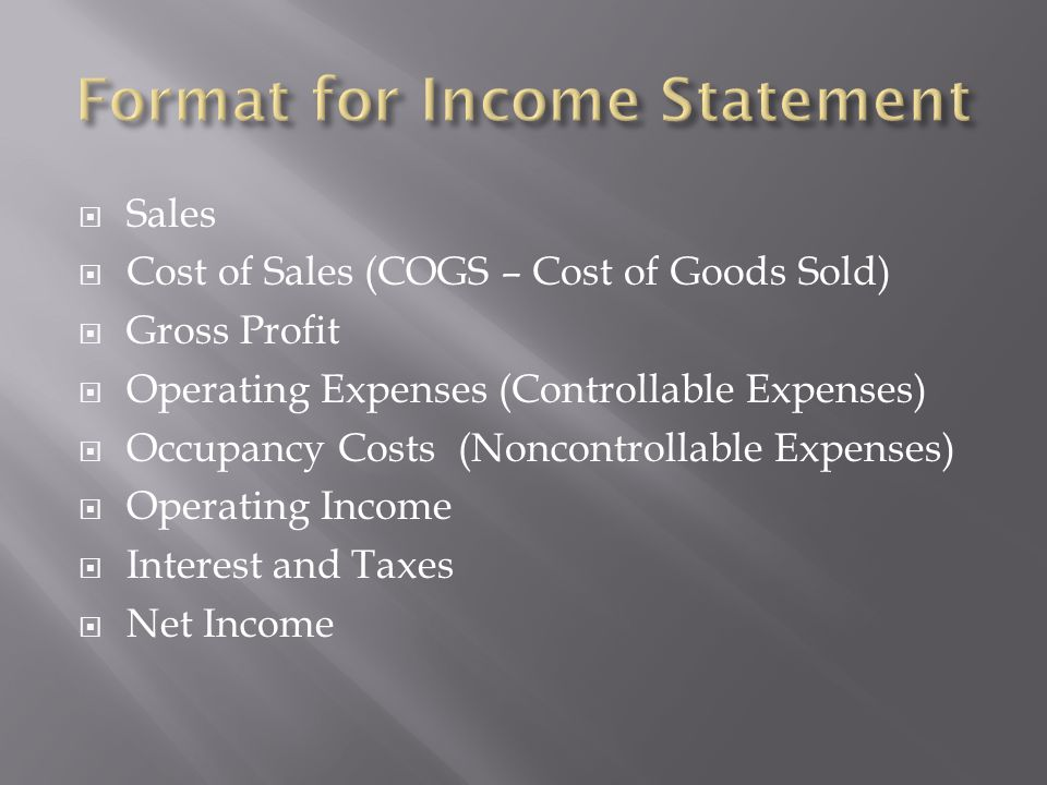 Format for Income Statement