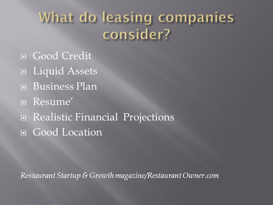 What do leasing companies consider