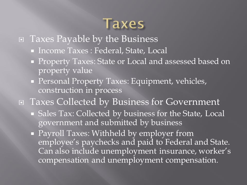 Taxes Taxes Payable by the Business