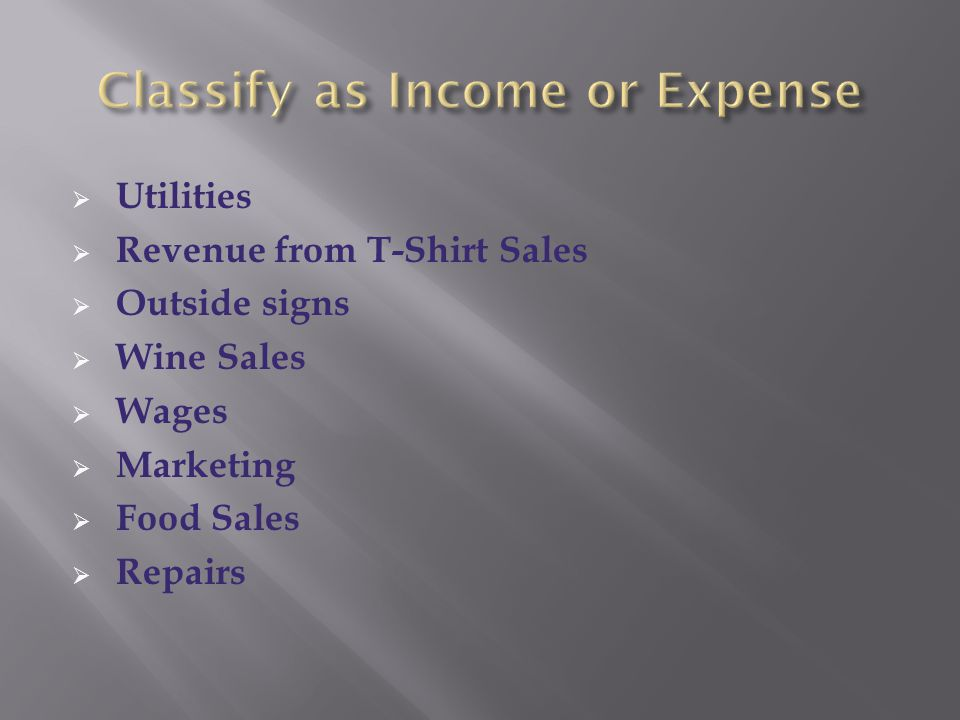 Classify as Income or Expense