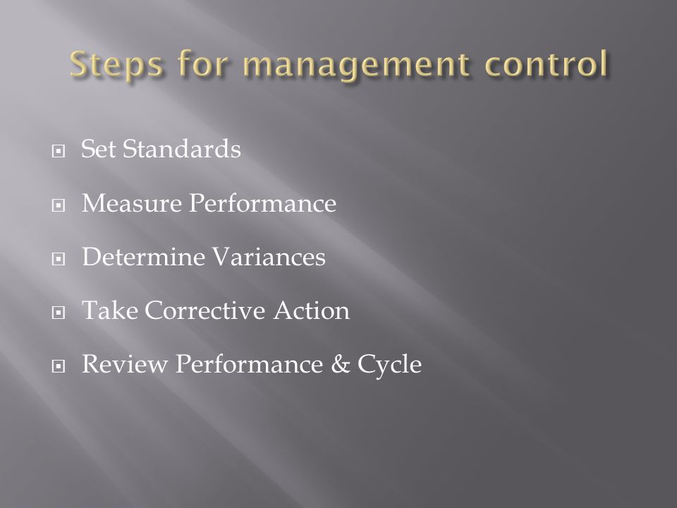 Steps for management control