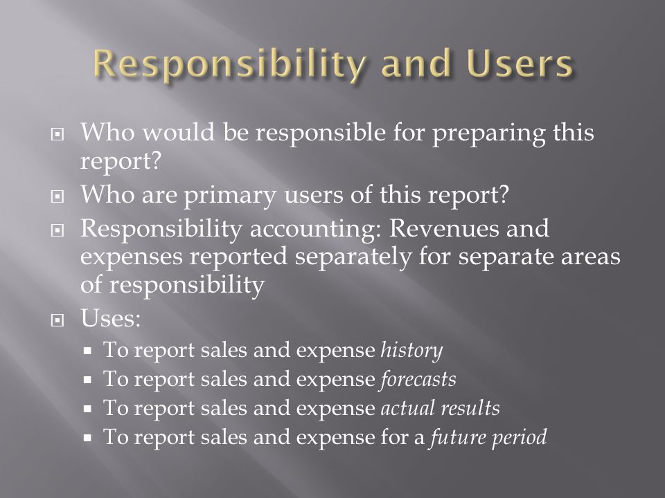 Responsibility and Users