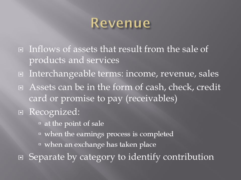 Revenue Inflows of assets that result from the sale of products and services. Interchangeable terms: income, revenue, sales.