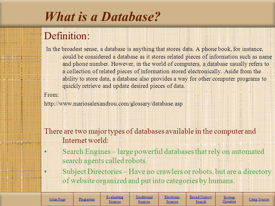 What is a Database Definition: