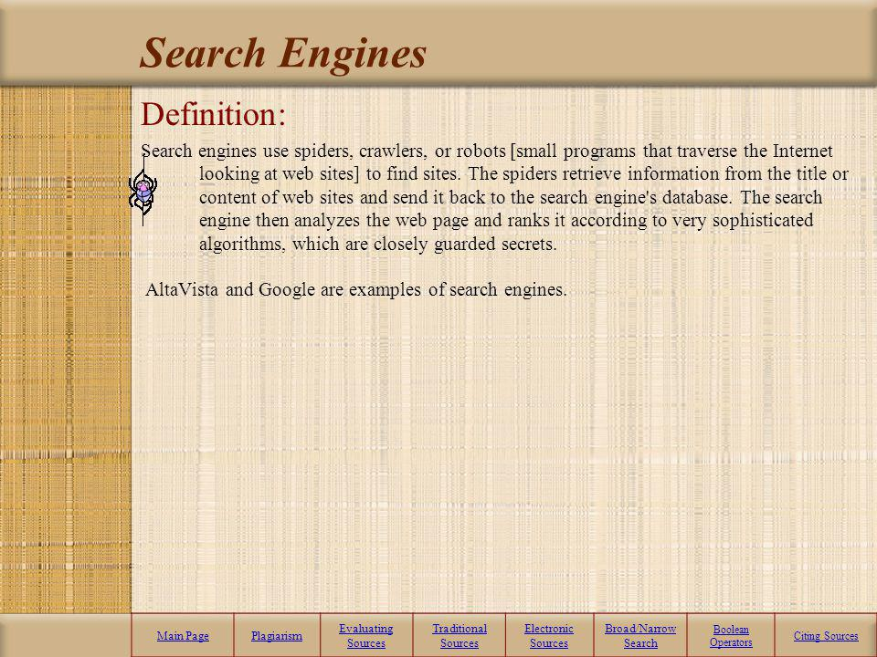 Search Engines Definition: