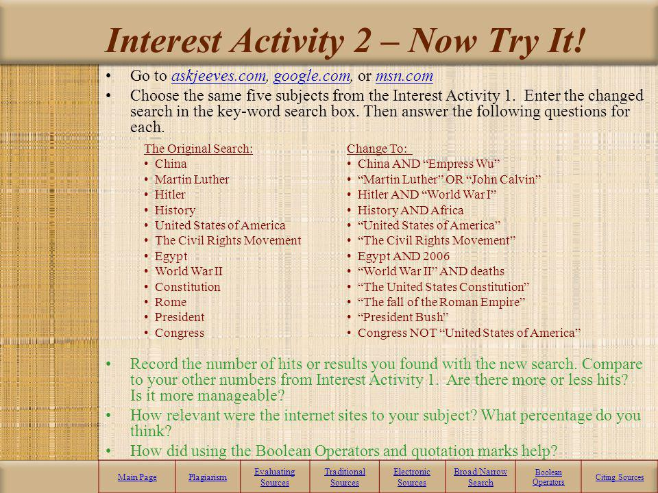 Interest Activity 2 – Now Try It!